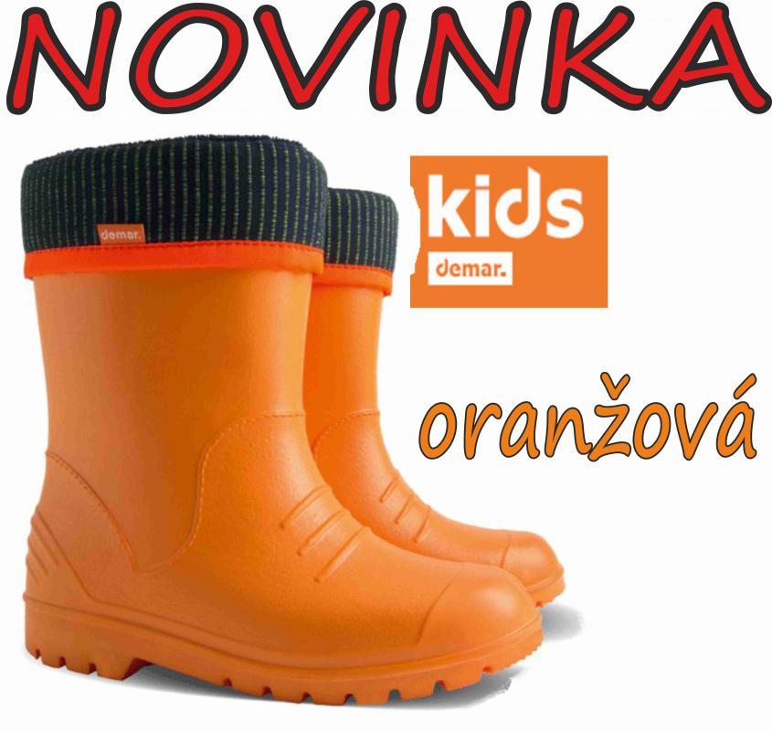 DEMAR dětské holínky DINO 0310 C oranžová vel.20-37