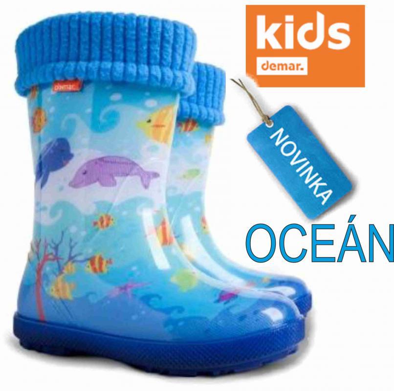 DEMAR dětské holínky Hawai LUX EX 0448 EG oceán vel.20-27