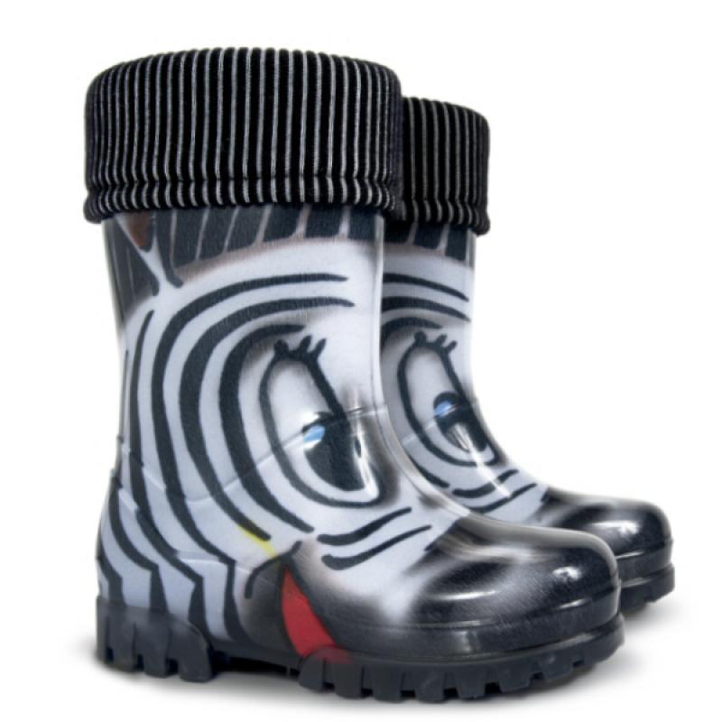 DEMAR dětské holínky Twister LUX 0039 S zebra vel.28-35